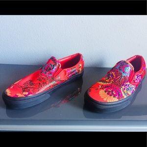 595d80c9d85 Vans Shoes - Red Vans Slip On w  Festival Satin Print